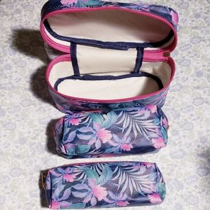 Set of 3 Floral Makeup Travel bags